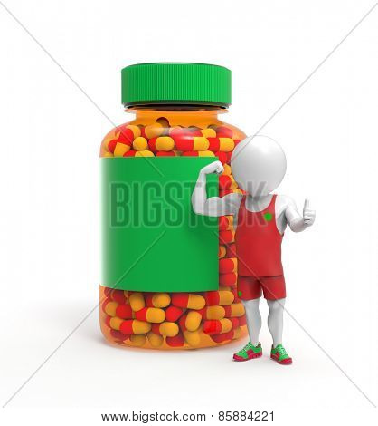 Sportsman stands near pills bottle