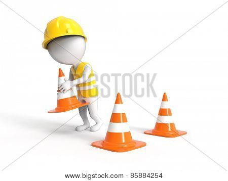 Worker with construction cones