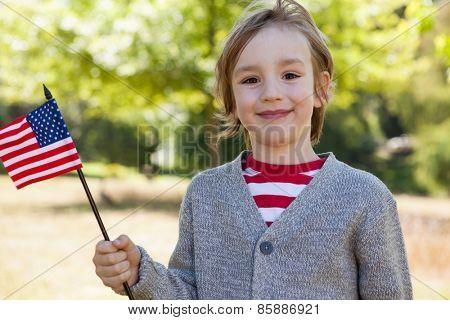 Cute little boy waving american flag on a sunny day