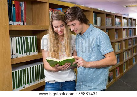 Students reading together in the library at the university