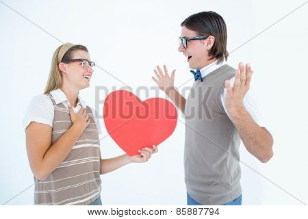 Happy geeky hipster and her boyfriend on white background