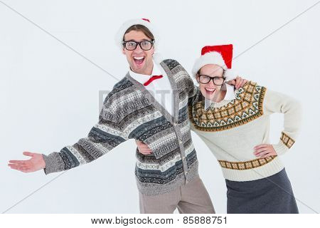 Geeky hipster couple having fun on white backgroung