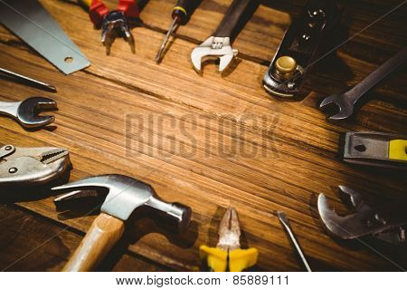 DIY tools laid out on table shot in studio
