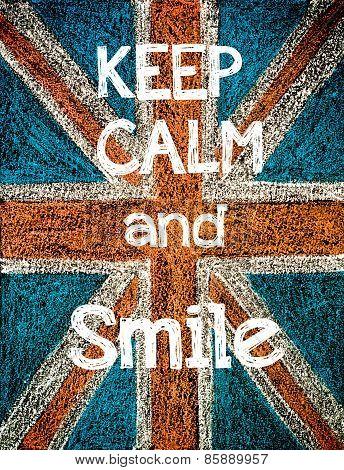 United Kingdom (british Union Jack) Flag, Hand Drawing With Chalk On Blackboard, Vintage Concept