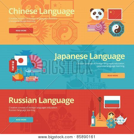Flat design banners for chinese, japanese, russian. Foreign languages education concepts for web ban