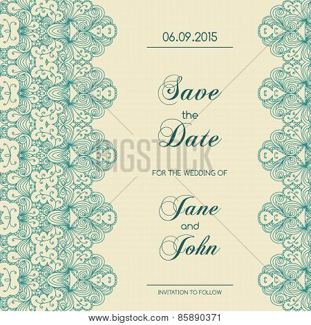 Vintage Wedding Invitation With Lace Border