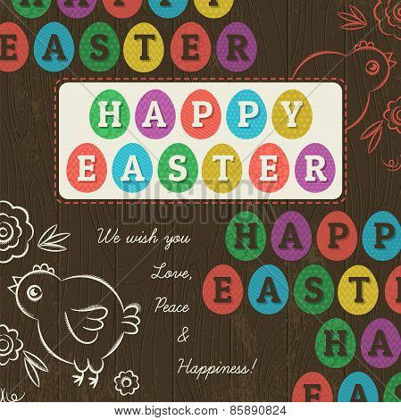 Greetings Card For Easter Day With Colored Eggs, Vector