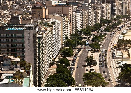 Avenida Atlantica Avenue in Copacabana Beach, Rio de Janeiro, Brazil