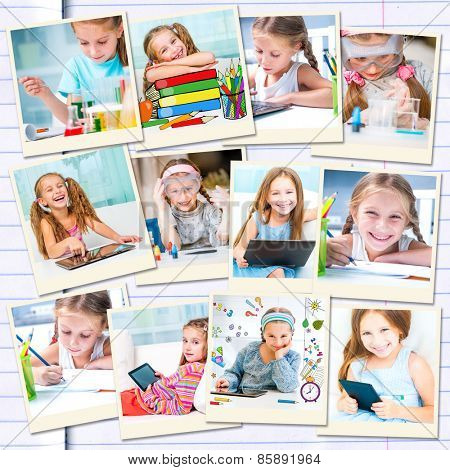 photo collage of  little girl draws and makes chemical experiments