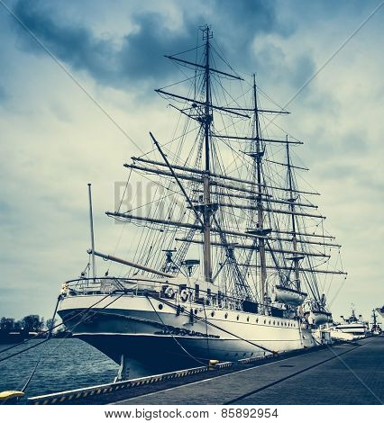 Dar Pomorza famous polish ship docked in Gdynia