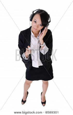 Business Woman Listen Music