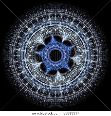 Computer generated illustration rendered fractal solar blue