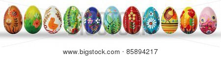Hand painted Easter eggs isolated on white. Floral, colorful spring patterns and designs. Traditional, artistic, handmade and unique. More sets available in my portfolio.