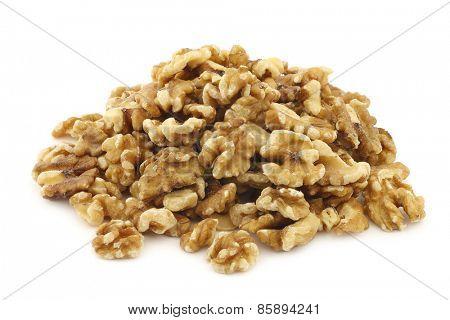 fresh peeled  walnuts on a white background