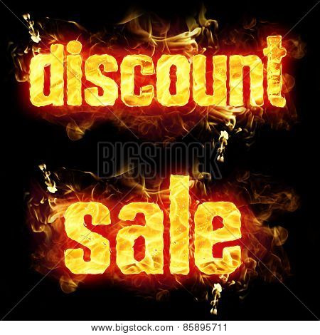 Fire Text Discount Sale