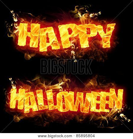 Happy Halloween Fire Text