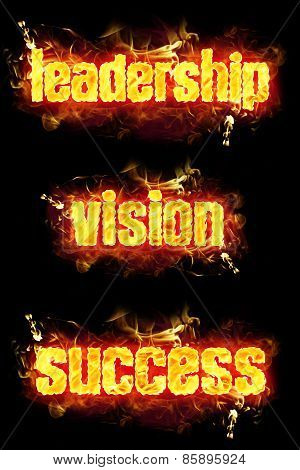 Fire Text Leadership Vision Success