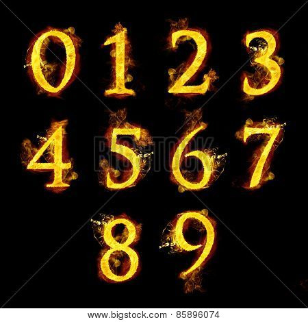 Set Of  Numbers In Flames