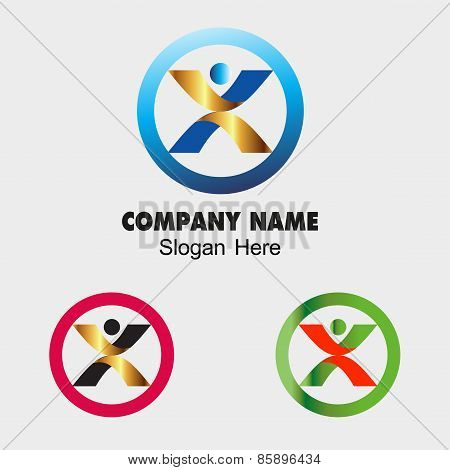 Abstract man sign vector people design template. Yoga, Spa, Health concept such as logotype. Person,