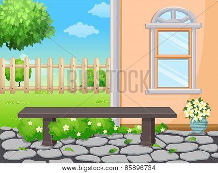 Bench in the backyard garden