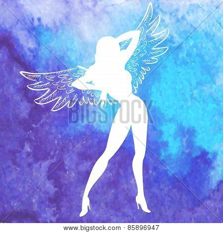 Vector  Silhouette Of Sexy Woman With Wings