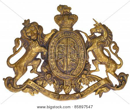 Crest Coat of Arms, UK of Great Britain & N. Ireland, British Royal, Lion & Unicorn, French