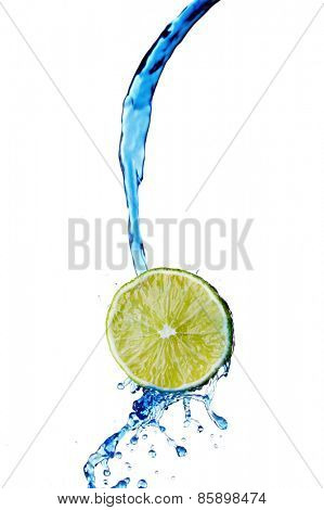 Fresh lemon with water splash isolated on white background