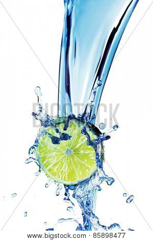 Fresh lime with water splash isolated on white background