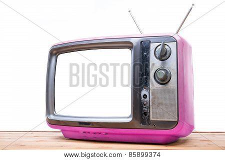 Pink Vintage Tv On Wood Table