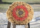stock photo of archery  - Circle archery and javelin target outdoor as background   - JPG