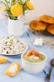 foto of leek  - Bowl of creamy leek soup with smoked salmon and cream cheese - JPG