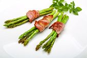 foto of bacon  - Grilled asparagus with bacon basil and sesame - JPG