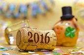foto of pig  - Happy new year 2016 with champagne cork and pig made with marzipan as lucky charm - JPG
