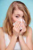 stock photo of sneezing  - Flu cold or allergy symptom - JPG