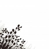 image of butterfly-bush  - floral silhouette and butterflies black for design - JPG