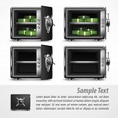 foto of bank vault  - Bank open safes empty and with money on white vector illustration - JPG