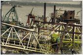 image of shipyard  - Vintage postcard of ships moored at a shipyard - JPG