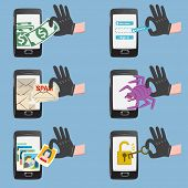 picture of spam  - Set of hacker activity on smartphone with bug crack spam stealing money account password personal data - JPG