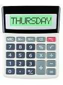 foto of thursday  - Calculator with THURSDAY on display isolated on white background - JPG