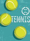 stock photo of silkscreening  - Tennis vintage grunge style poster - JPG