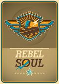 stock photo of rebel  - Soul rebel poster with locomotive - JPG