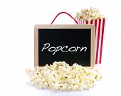 picture of popcorn  - Popcorn and blackboard with the word Popcorn - JPG