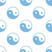 pic of yin  - Yin Yang white and blue seamless pattern for web design - JPG