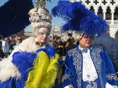 stock photo of venice carnival  - Characters in colorful costumes at the carnival in Venice - JPG