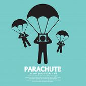 image of parachute  - Parachutes Skydiving Sign Vector Illustration - JPG