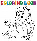 stock photo of pupils  - Coloring book pupil theme 5  - JPG