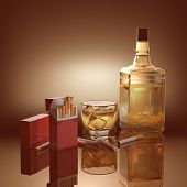 picture of addiction to smoking  - Objects concepts of addiction drinking and smoking - JPG
