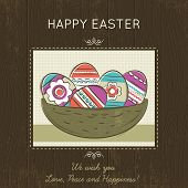 stock photo of easter card  - Grunge brown wooden background with hand painted nest full of easter eggs and greetings text Happy Easter - JPG