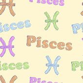 foto of pisces  - Seamless texture with Pisces zodiac sign the sketch on the light - JPG