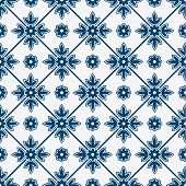 stock photo of indigo  - Indigo and white seamless floral delft pattern - JPG